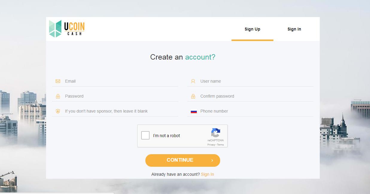 Регистрация на Ucoin cash