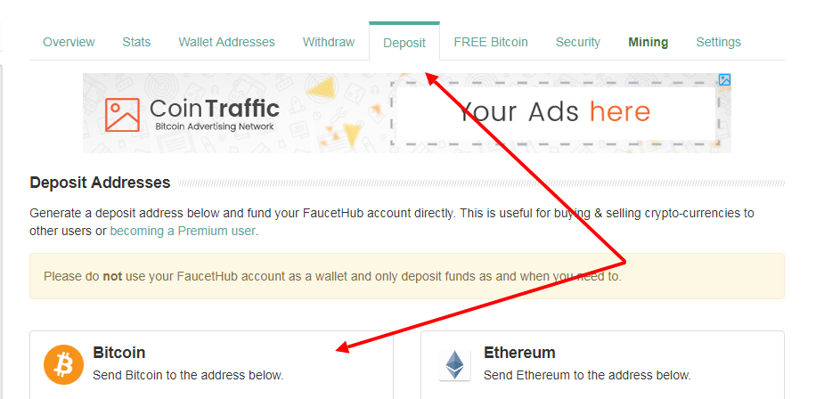 Как узнать биткоин адрес на faucethub